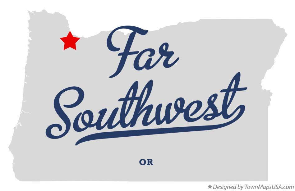 Map of Far Southwest Oregon OR