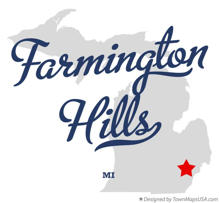 Map of Farmington Hills Michigan MI