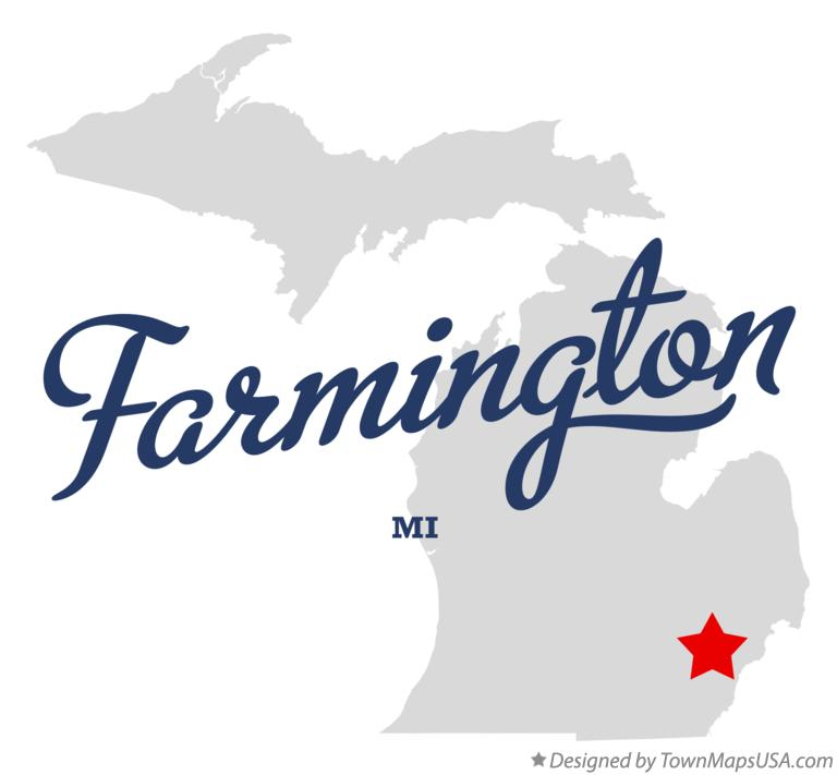 Map of Farmington MI Michigan