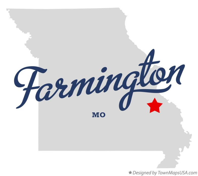 Map of Farmington Missouri MO