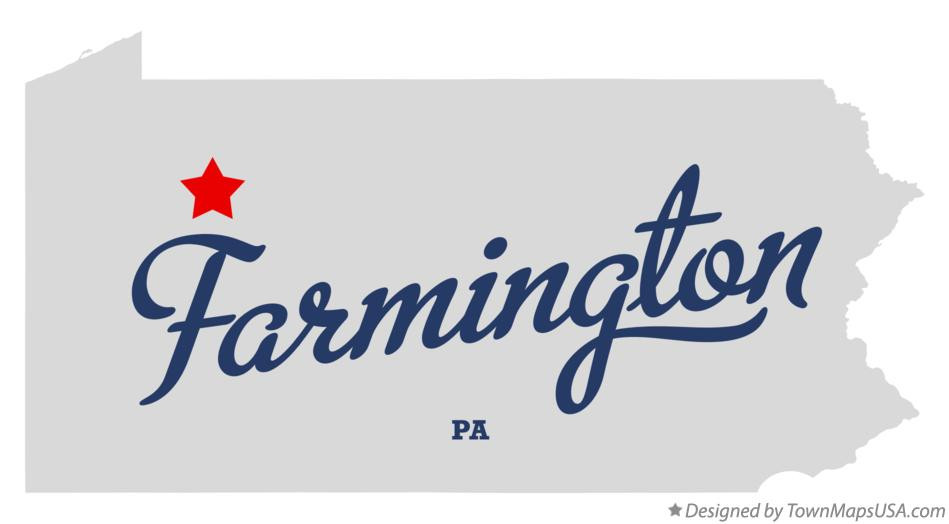 Map of Farmington Pennsylvania PA