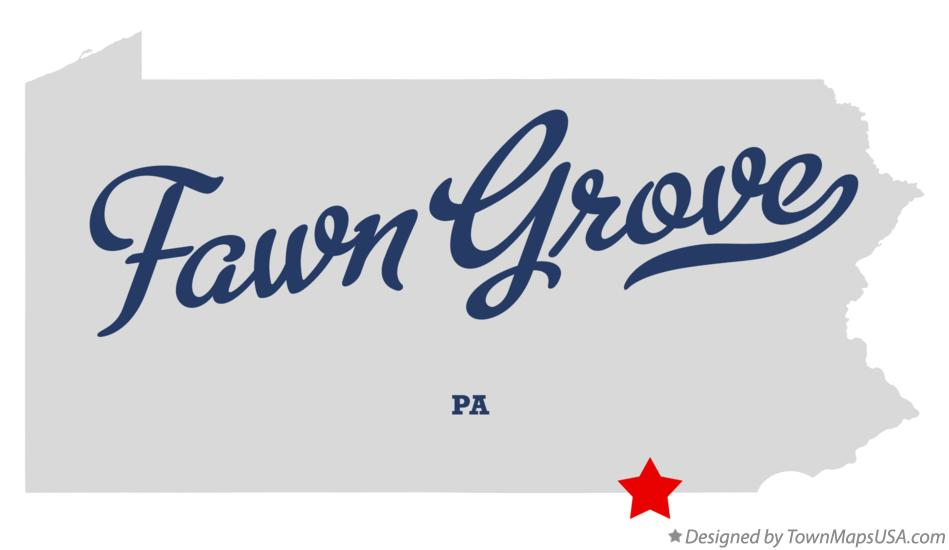 Map of Fawn Grove Pennsylvania PA