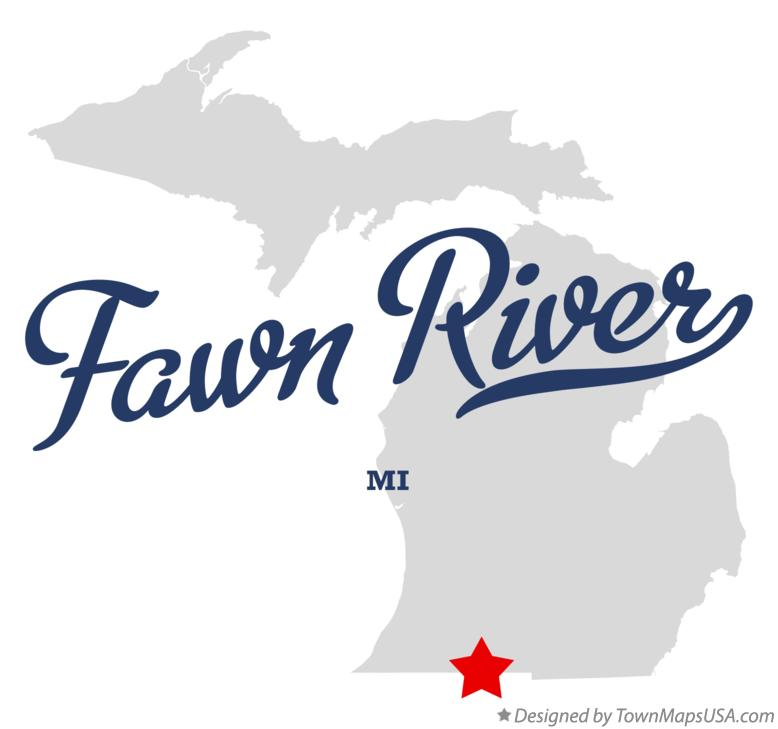 Map of Fawn River Michigan MI