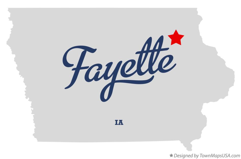 Map of Fayette Iowa IA