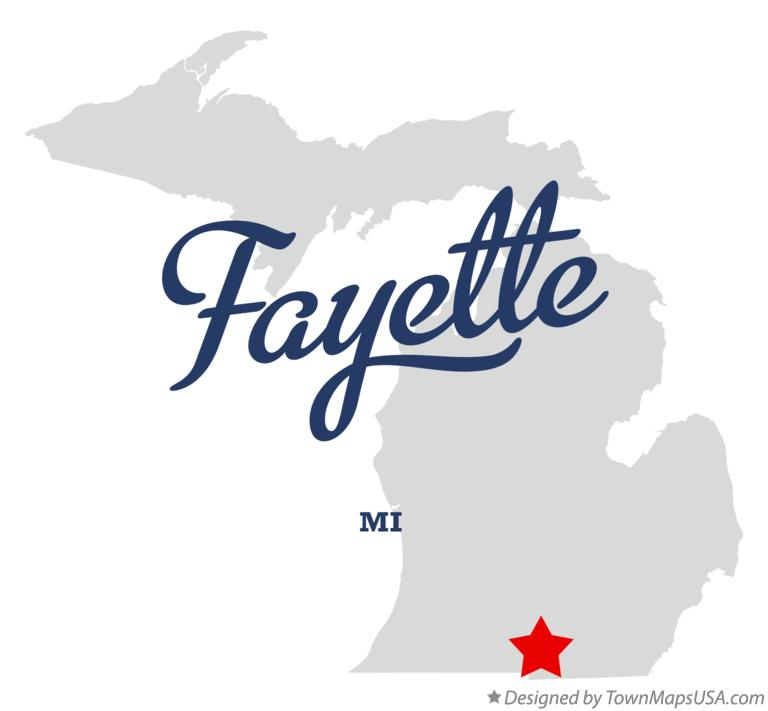 Map of Fayette Michigan MI
