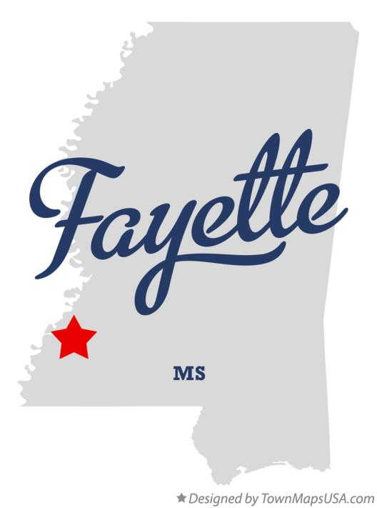 Map of Fayette Mississippi MS