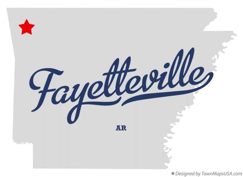 Map of Fayetteville, AR, Arkansas