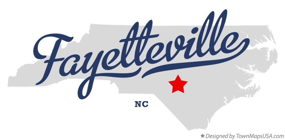 Map of Fayetteville, NC, North Carolina