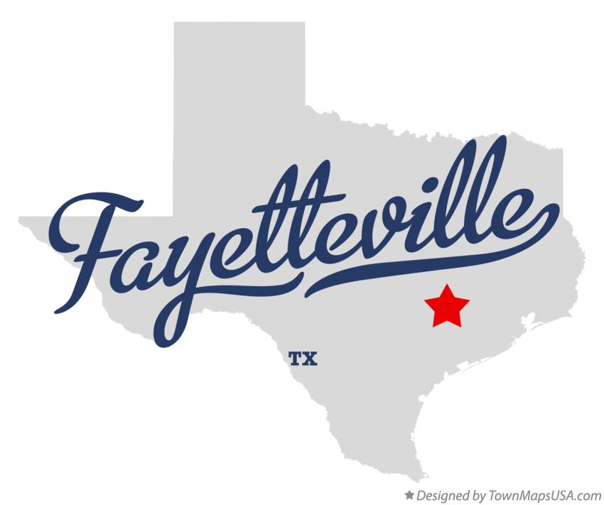 Map of Fayetteville Texas TX