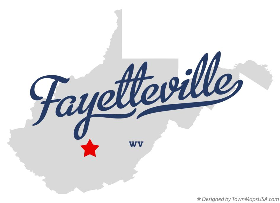 Map of Fayetteville West Virginia WV