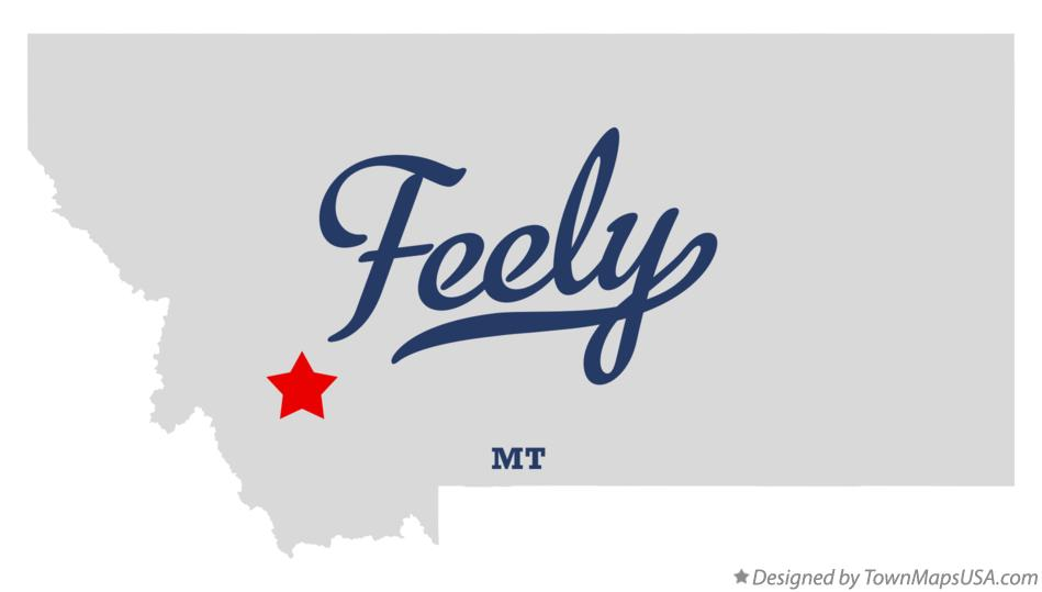 Map of Feely Montana MT