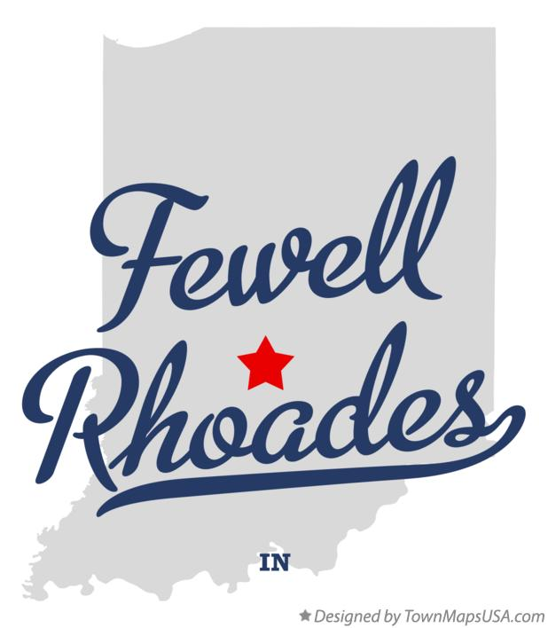 Map of Fewell Rhoades Indiana IN