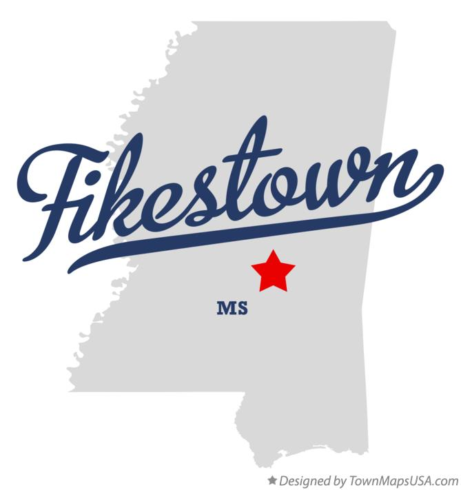 Map of Fikestown Mississippi MS