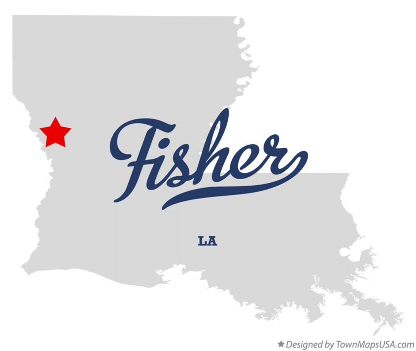 Map of Fisher Louisiana LA