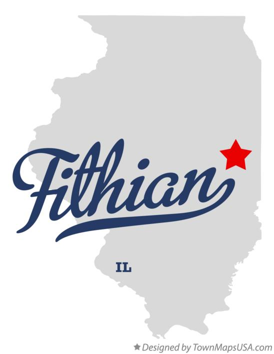 Map of Fithian Illinois IL