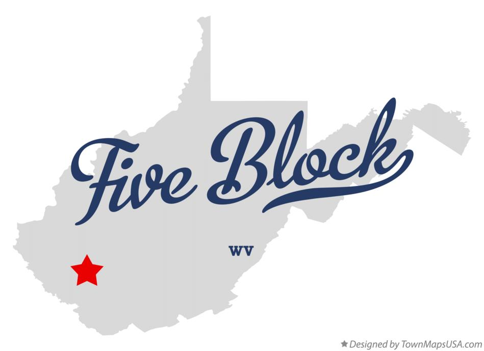 Map of Five Block West Virginia WV