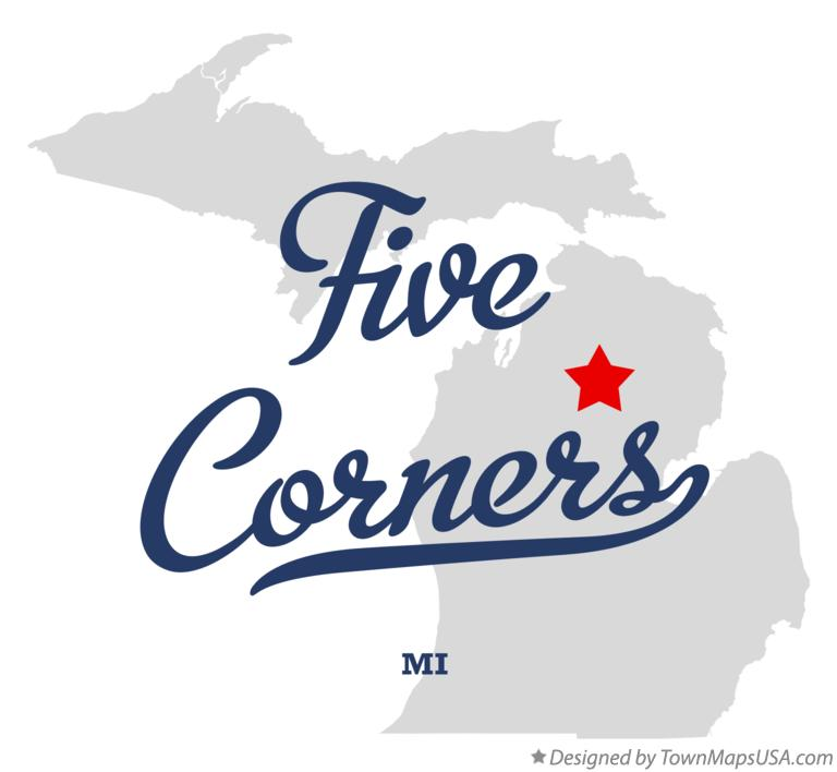 Map of Five Corners Michigan MI