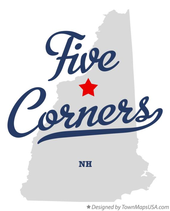 Map of Five Corners New Hampshire NH