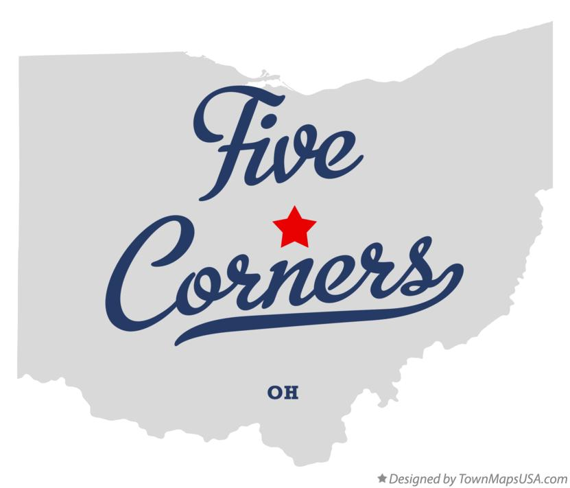 Map of Five Corners Ohio OH