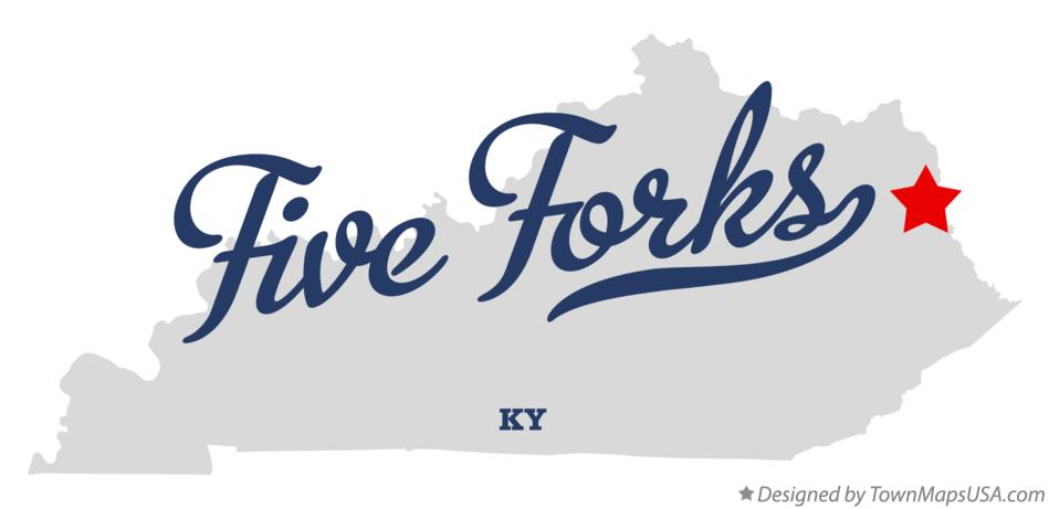 Map of Five Forks Kentucky KY