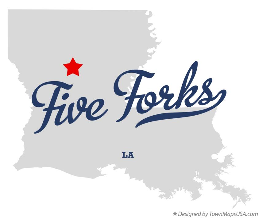 Map of Five Forks Louisiana LA