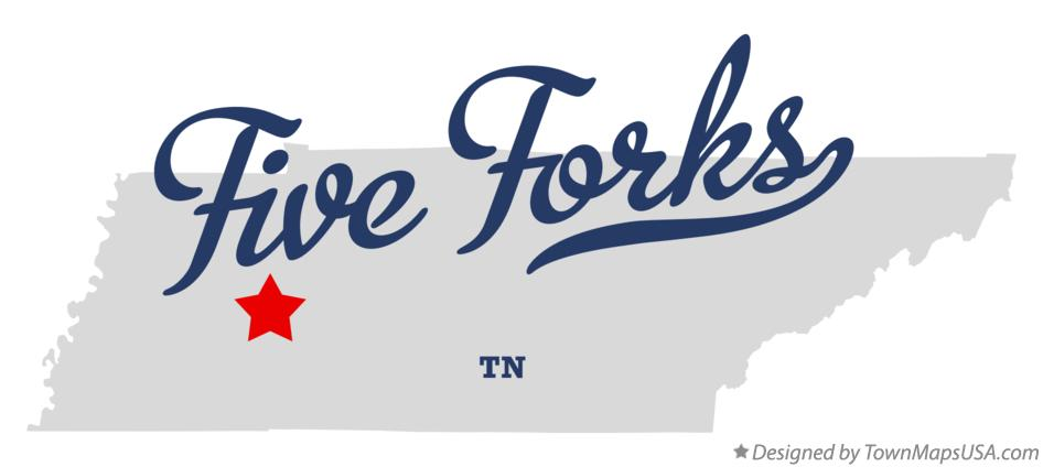 Map of Five Forks Tennessee TN