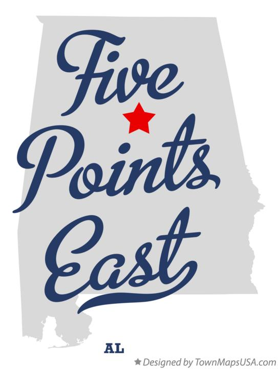 Map of Five Points East Alabama AL