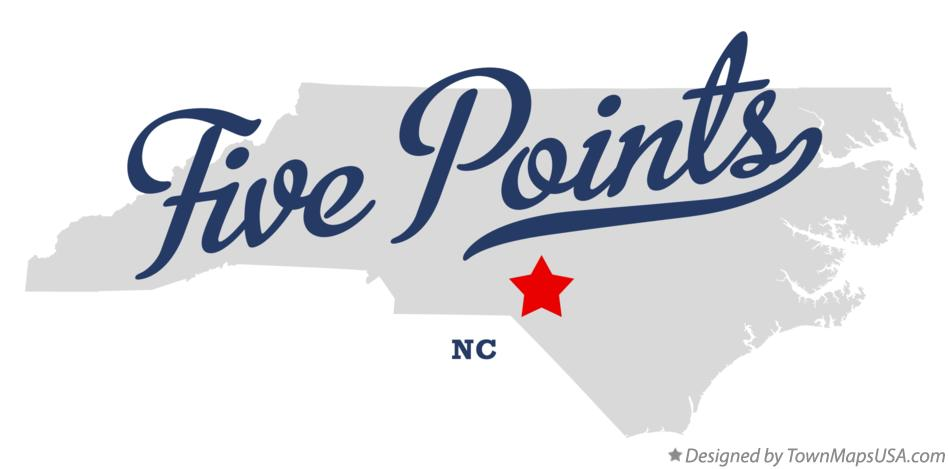 Map of Five Points North Carolina NC