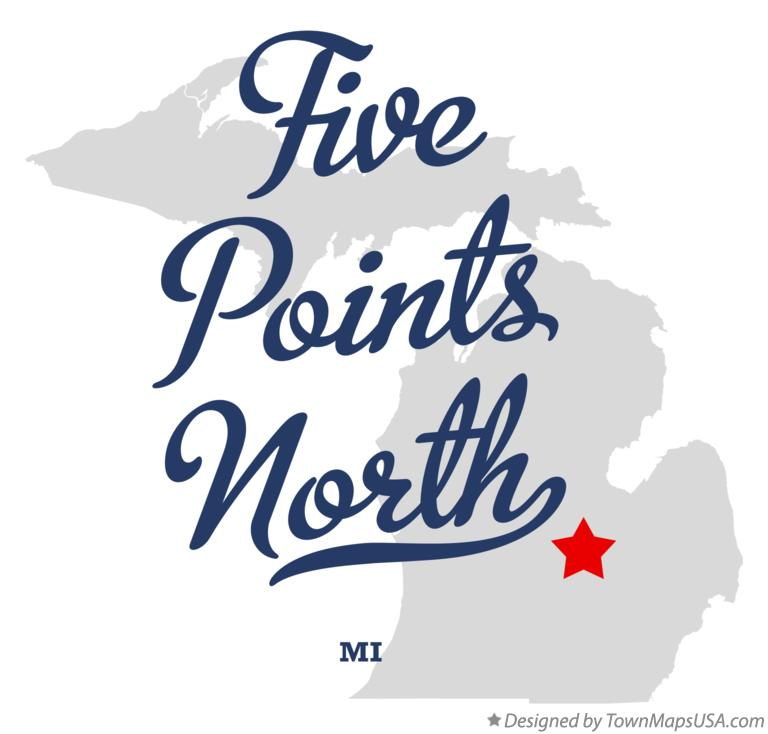 Map of Five Points North Michigan MI