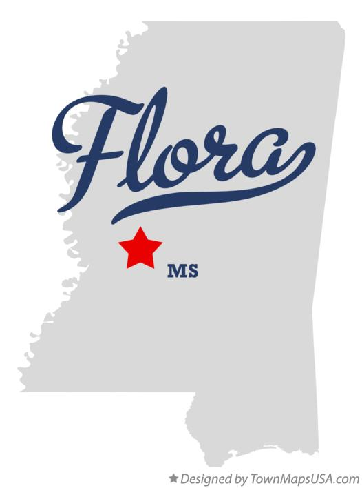 Map of Flora Mississippi MS