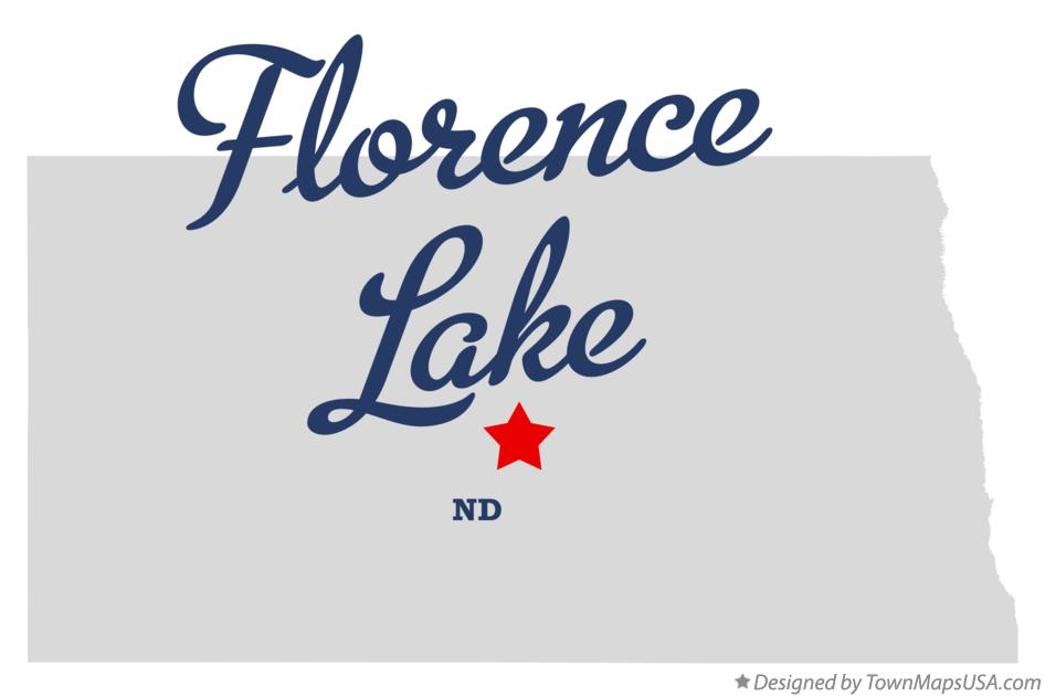 Map of Florence Lake North Dakota ND