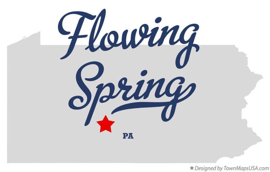 Map of Flowing Spring Pennsylvania PA