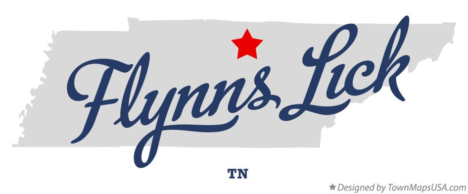 Map of Flynns Lick Tennessee TN