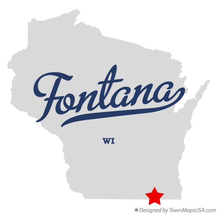 Map of Fontana Wisconsin WI