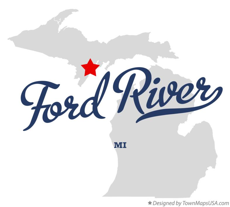 Map of Ford River Michigan MI