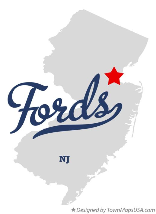 Map of Fords New Jersey NJ