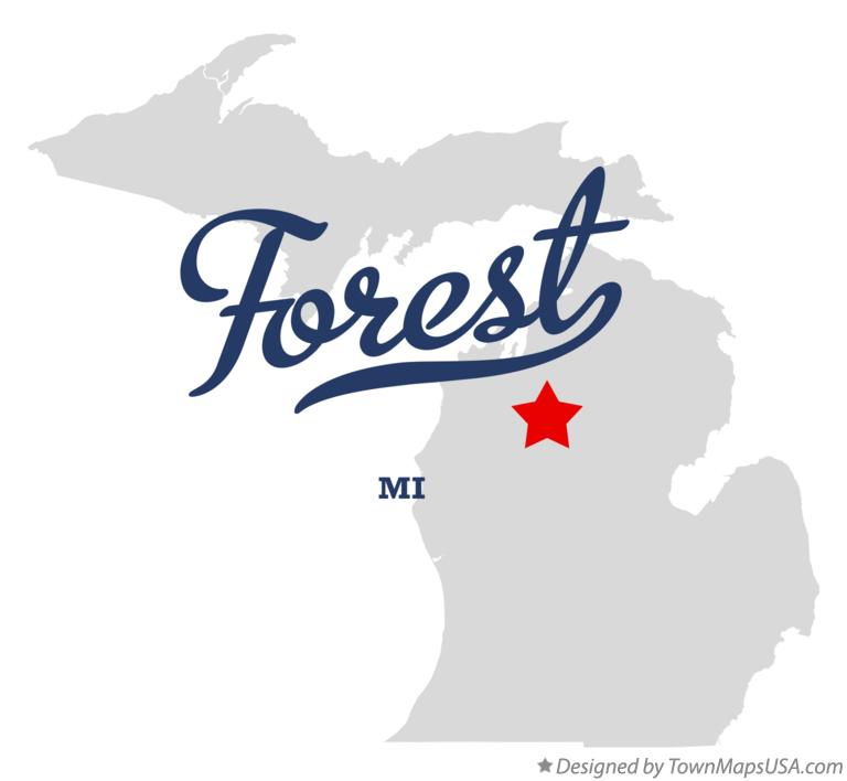 Map of Forest Michigan MI