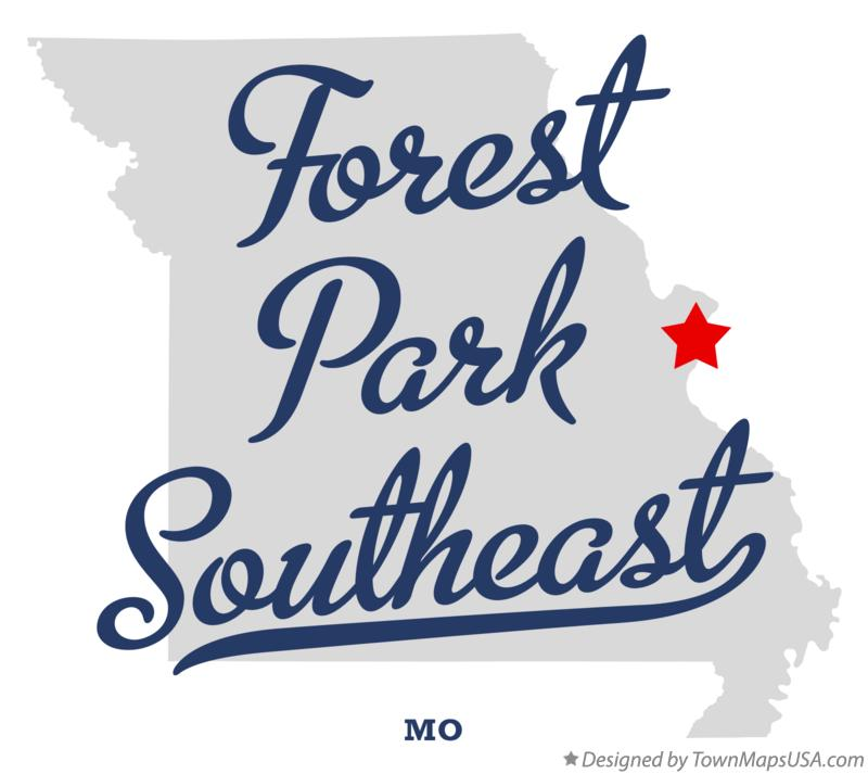 Map of Forest Park Southeast Missouri MO