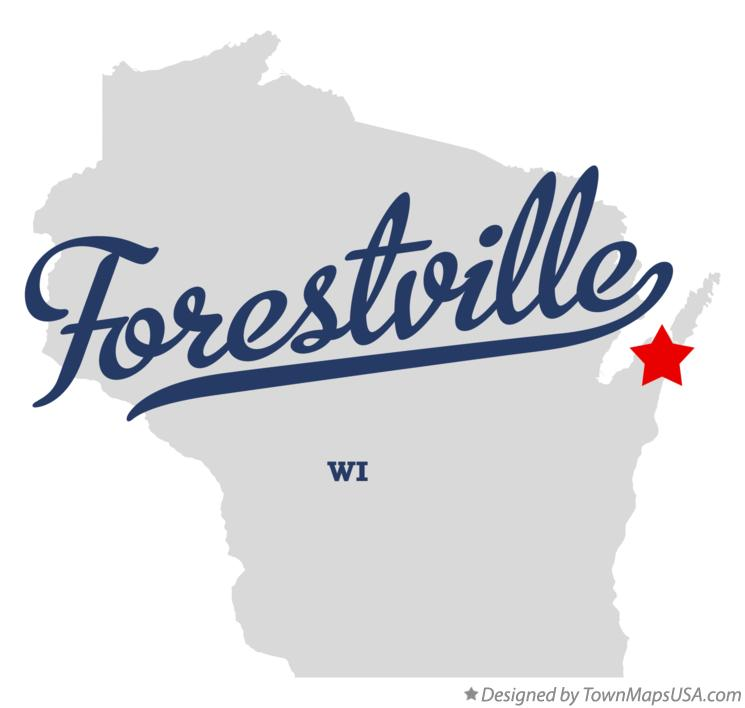 Map of Forestville Wisconsin WI