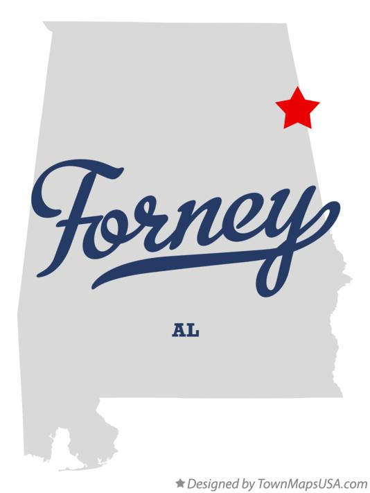 Map of Forney Alabama AL
