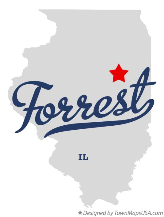 Map of Forrest Illinois IL