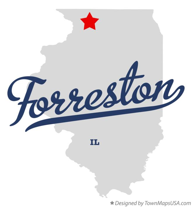 Map of Forreston Illinois IL