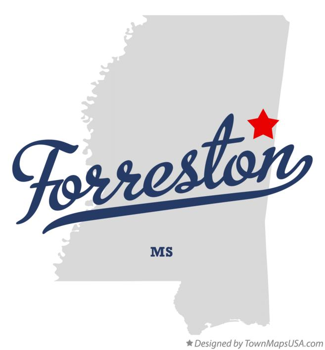 Map of Forreston Mississippi MS