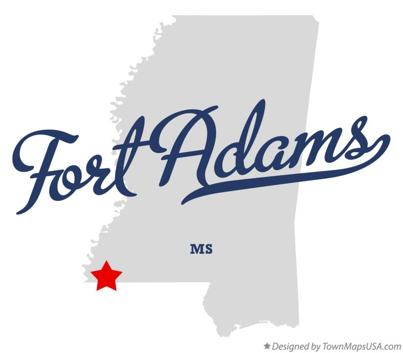 Map of Fort Adams Mississippi MS