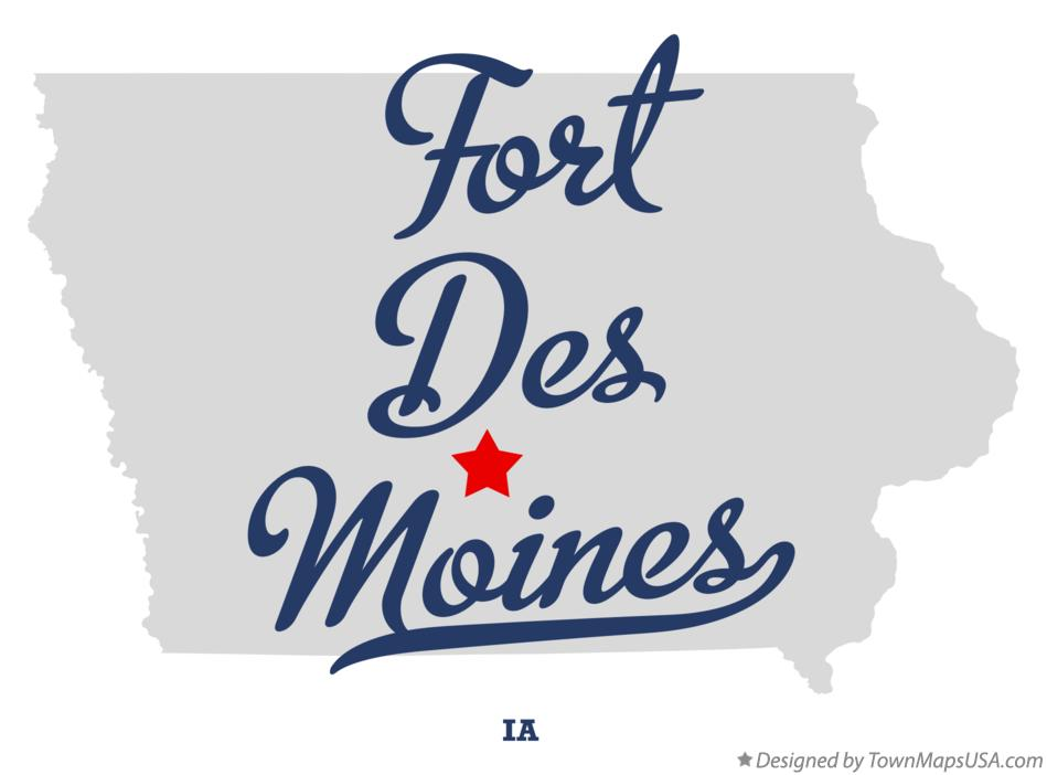 Map of Fort Des Moines, IA, Iowa Des Moines Map Usa on