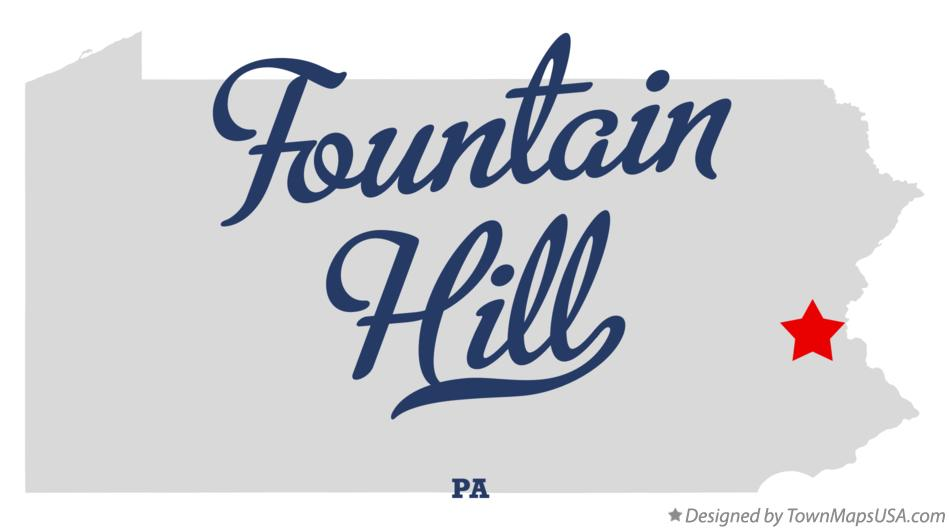 Map of Fountain Hill Pennsylvania PA
