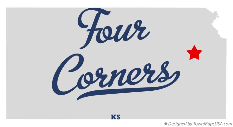 Map of Four Corners Kansas KS