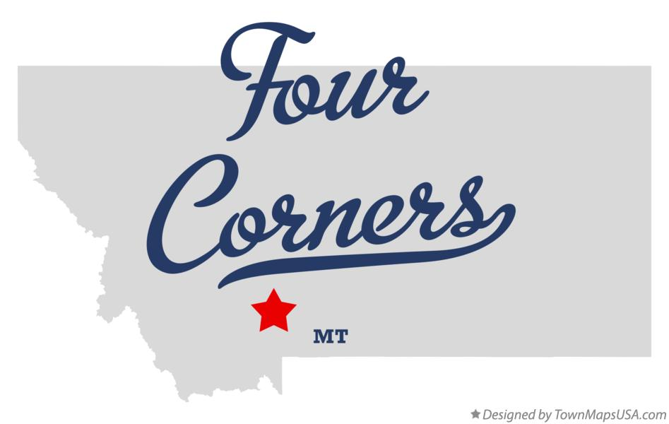 Map of Four Corners Montana MT