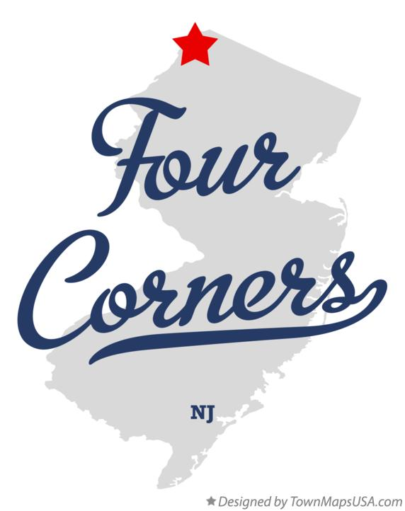 Map of Four Corners New Jersey NJ
