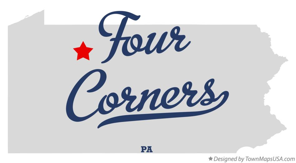 Map of Four Corners Pennsylvania PA